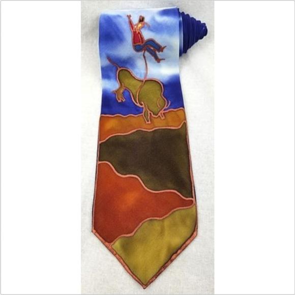 Bozeman Montana men's hand painted silk tie
